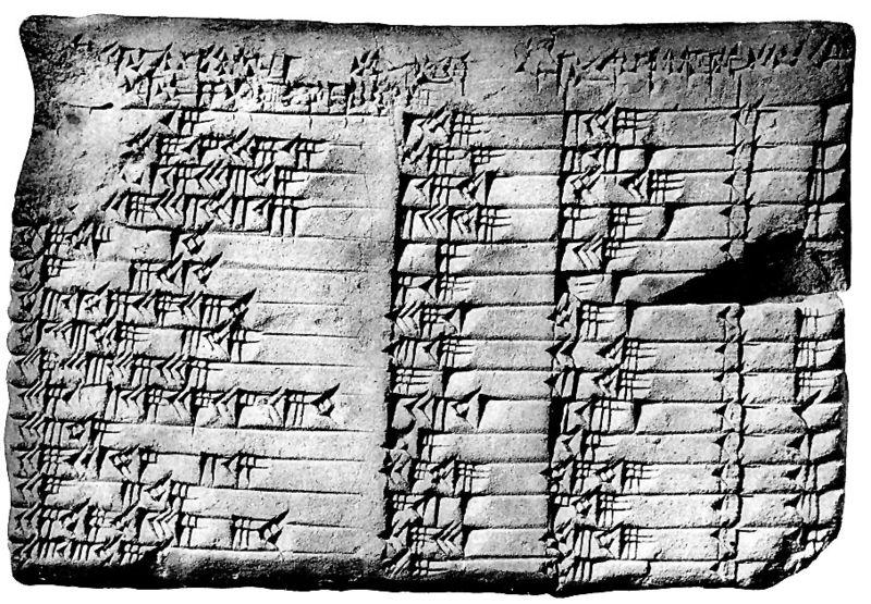 Pietra scolpita con terne pitagoriche scritte in caratteri egiziani
