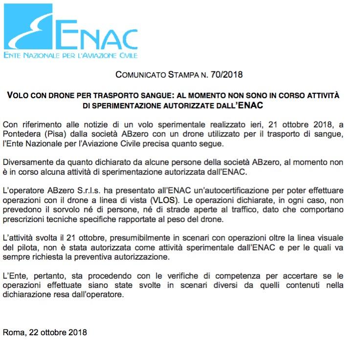 Comunicato Enac