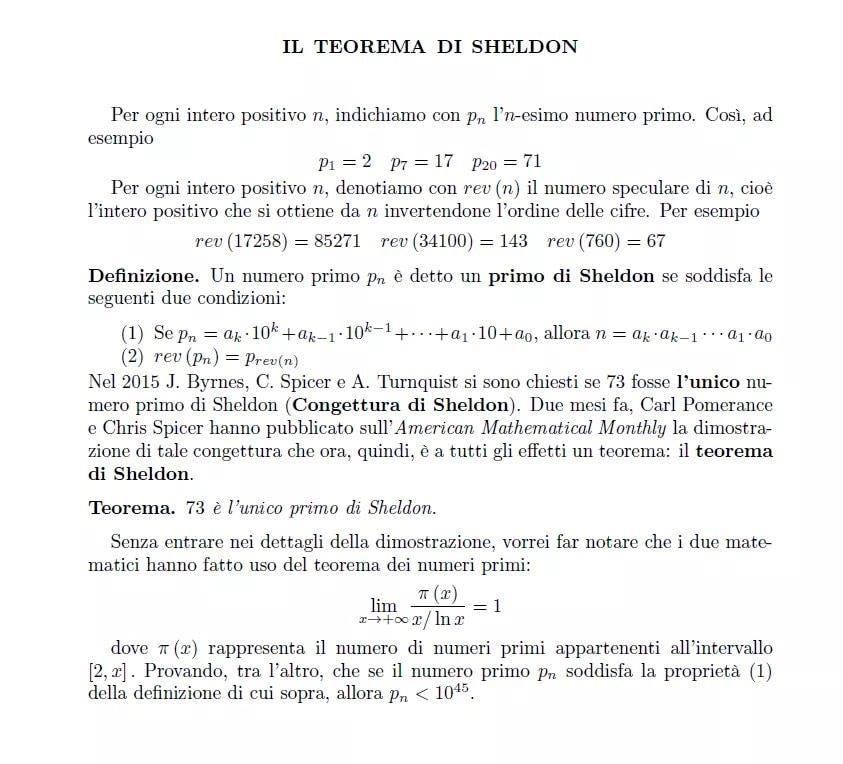 Teorema di Sheldon Cooper Numero primo 73