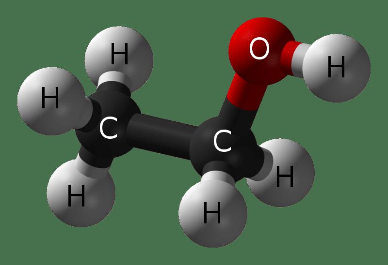 Struttura a sfere e bastoncini dell'etanolo