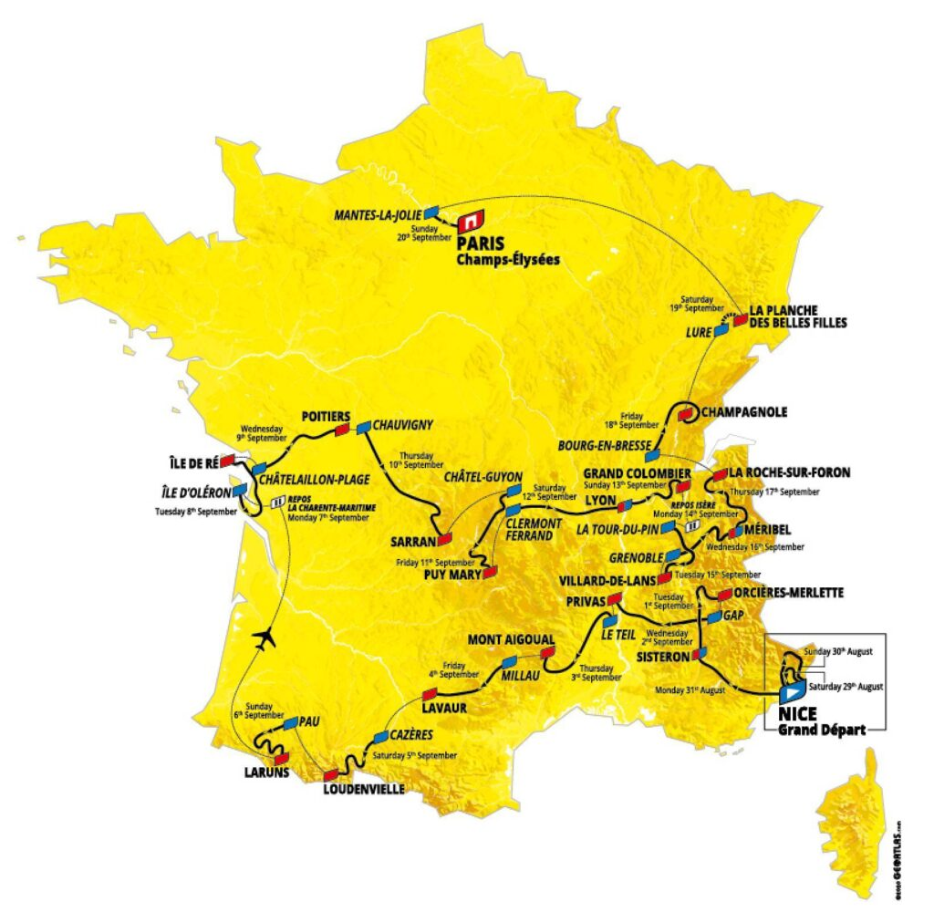 Itinerario del Tour de France 2020
