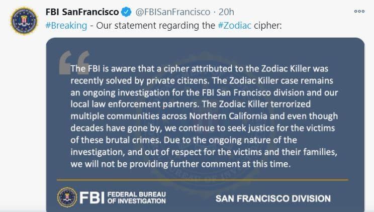 comunicato FBI su zodiac