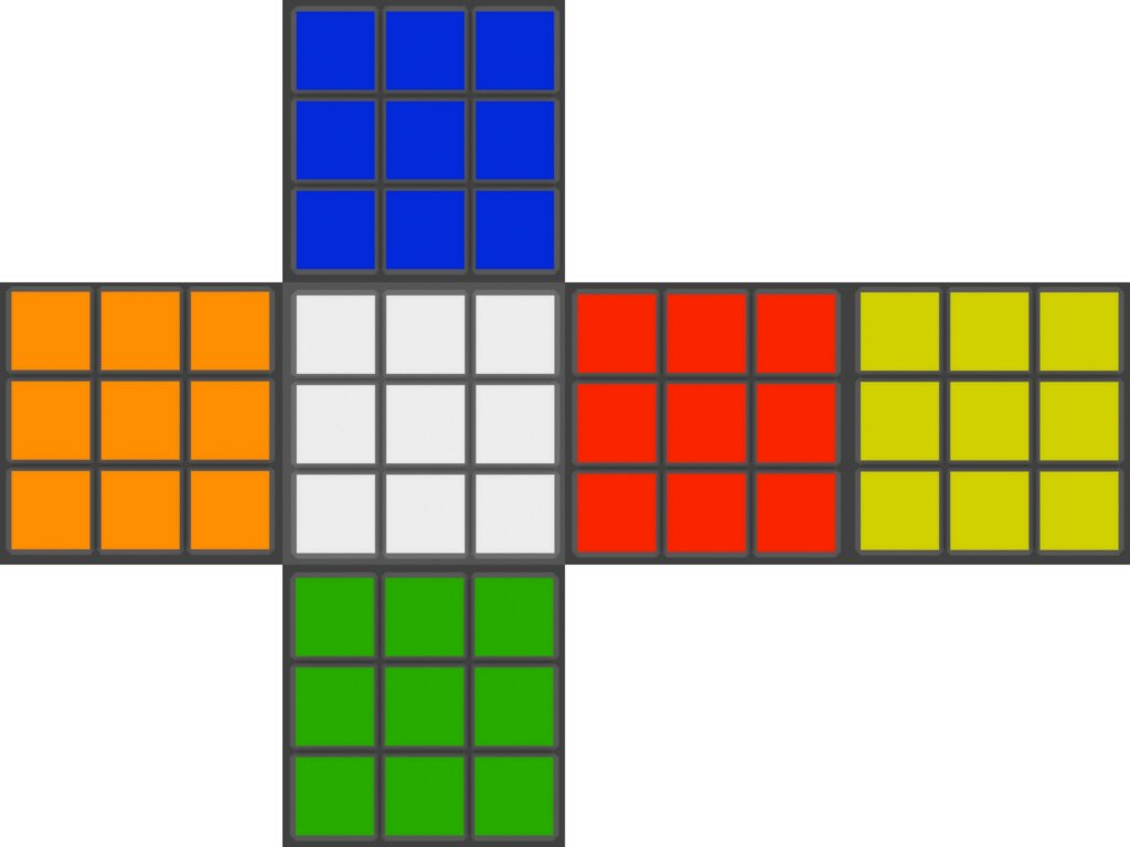 sviluppo in piano del cubo di rubik