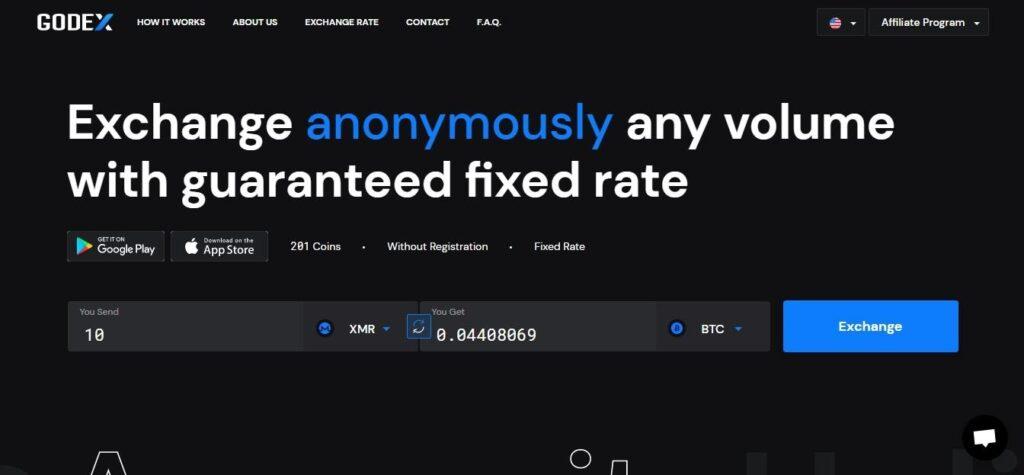 schermata GODEX per exchange di Bitcoin.
