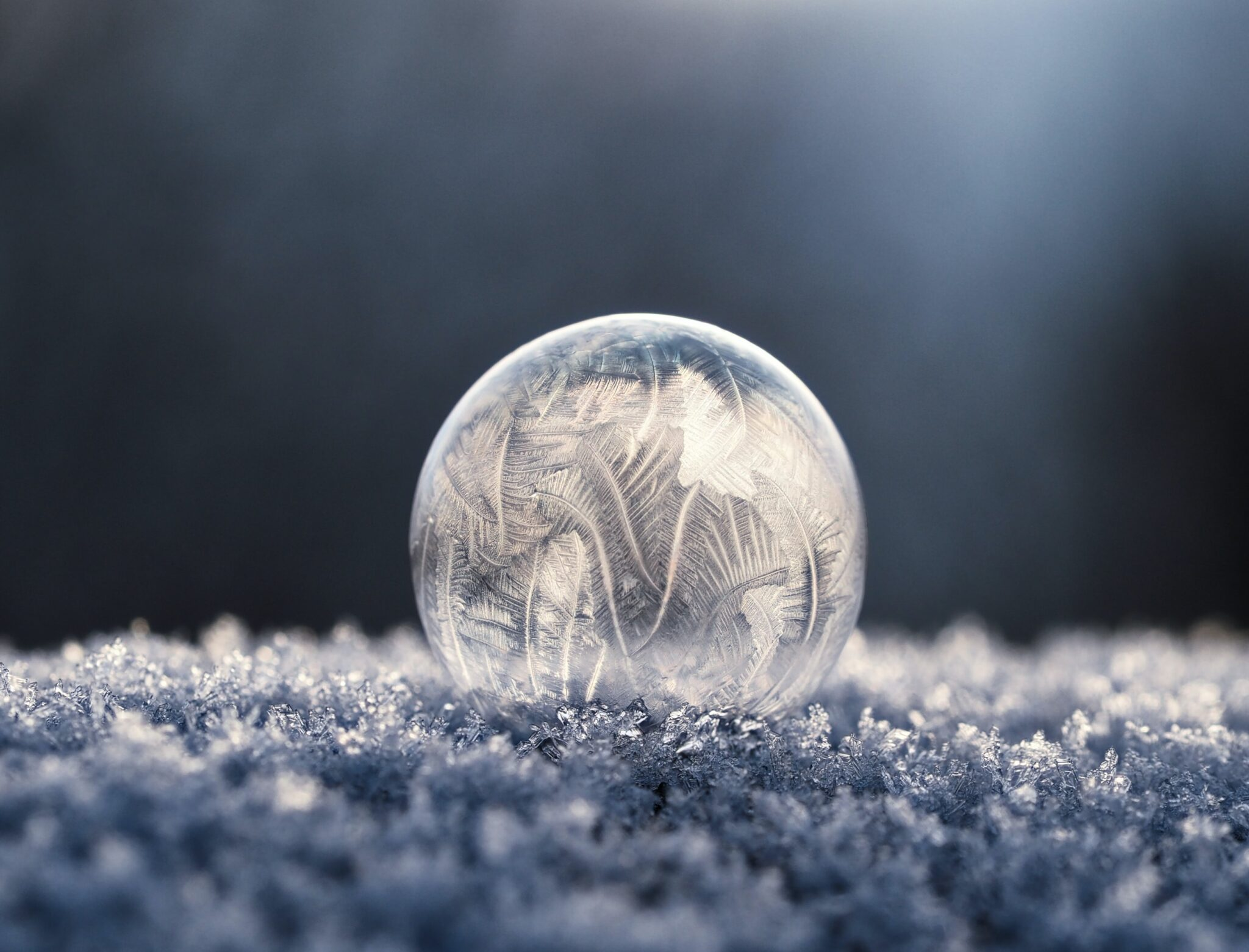 bolla di sapone su neve ghiacciata