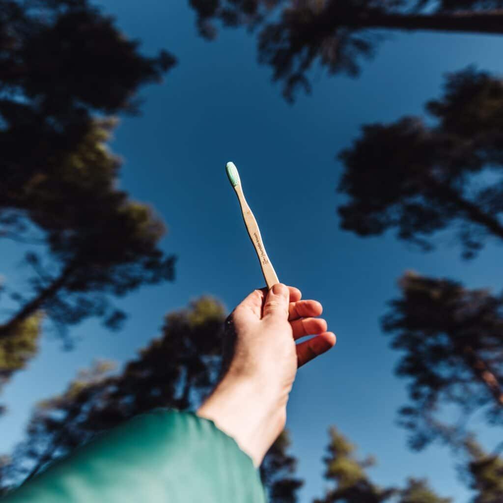 spazzolino da denti contro cielo blu e cime di alberi, sorretto da una mano